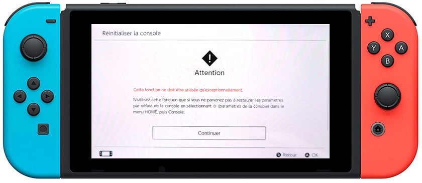 Comment Reinitialiser Nintendo Switch 07