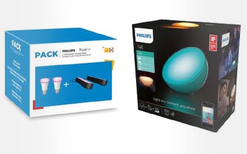 Pack de 2 Ampoules et 2 Lampes connectees Philips Hue Play Blanc et Noir + Lampe nomade connectee Hue Go LED