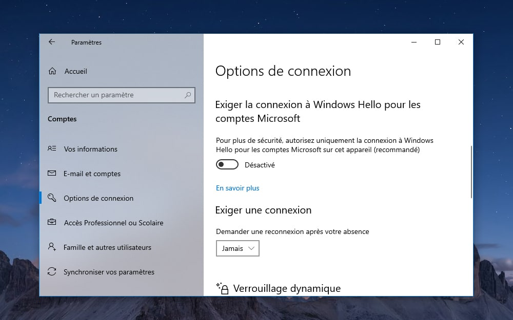 Windows 10 Comment désactiver mot de passe au démarrage