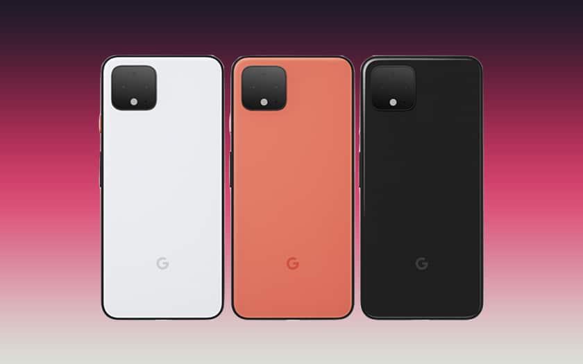 fond coloré et trois Google Pixel 4