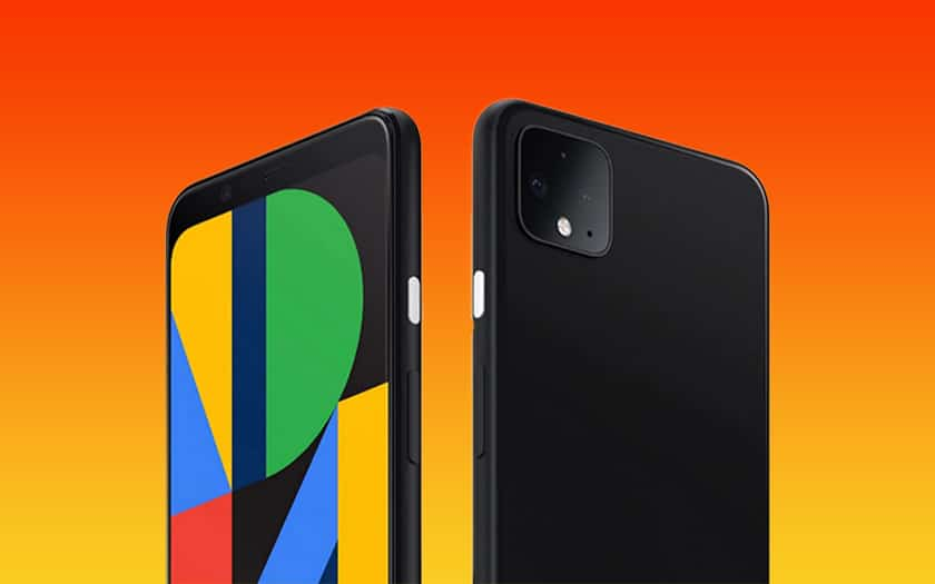 fond coloré et google pixel 4