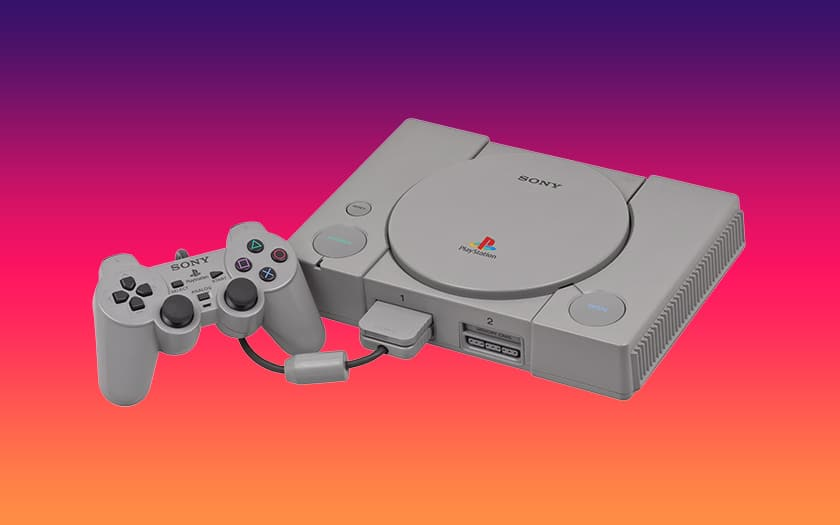 playstation 1994 et fond coloré