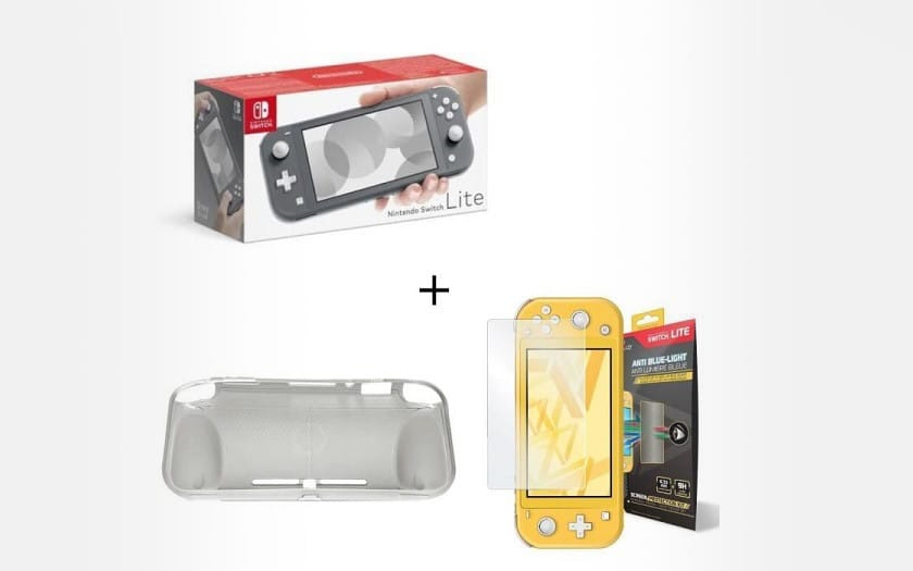 Pack Switch Lite Grise + Housse Silione Switch Lite + Verre Anti-Lumière SteelPlay pour Switch Lite