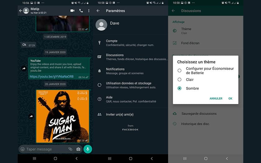 whatsapp mode sombre beta android