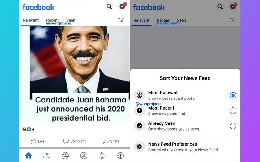 facebook nouveau fil actualités divisé 3 onglets