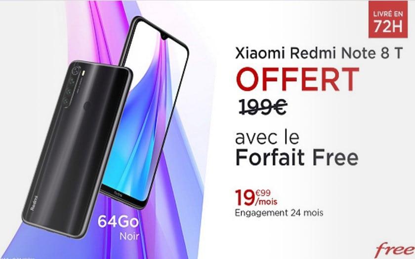vente privee free mobile forfait 100 go + xiaomi Redmi Note 8T