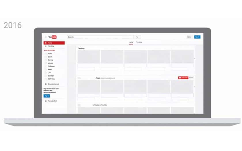 youtube interface web disparition