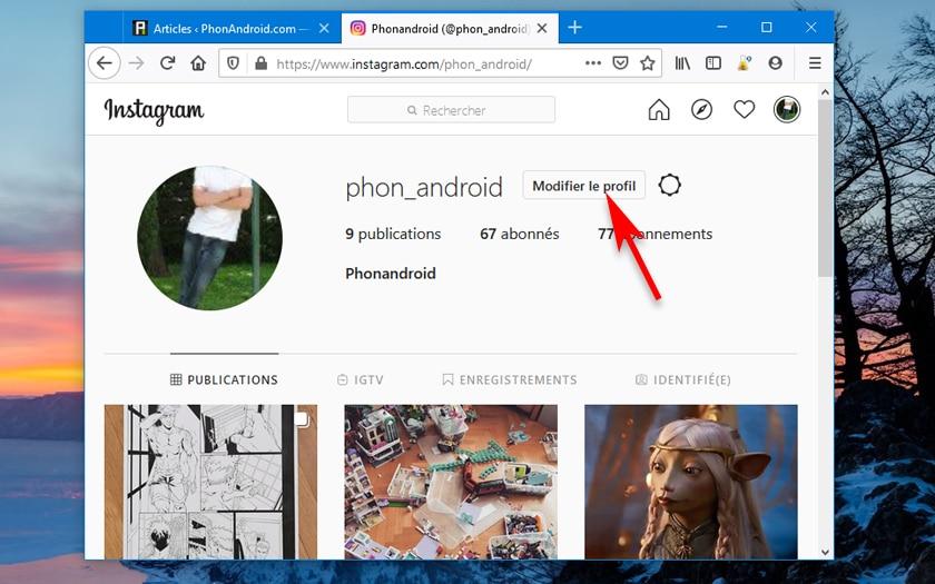 Changer Nom Instagram Interface Web