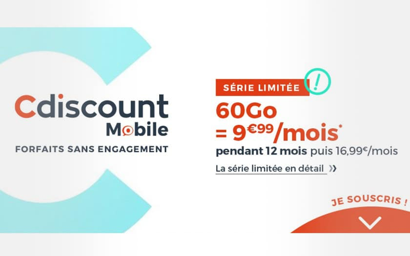 Forfait mobile pas cher Cdiscount Mobile 60 Go