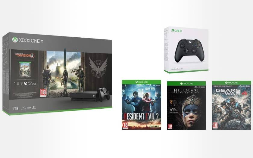 Pack xbox one X 2eme manette 4 jeux