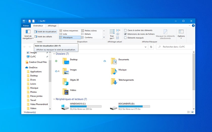 Windows 10 Explorateur Volet de Visualisation