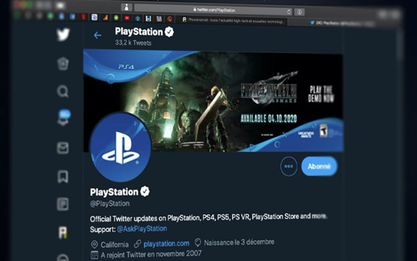 Compte Twitter Sony PlayStation PS5