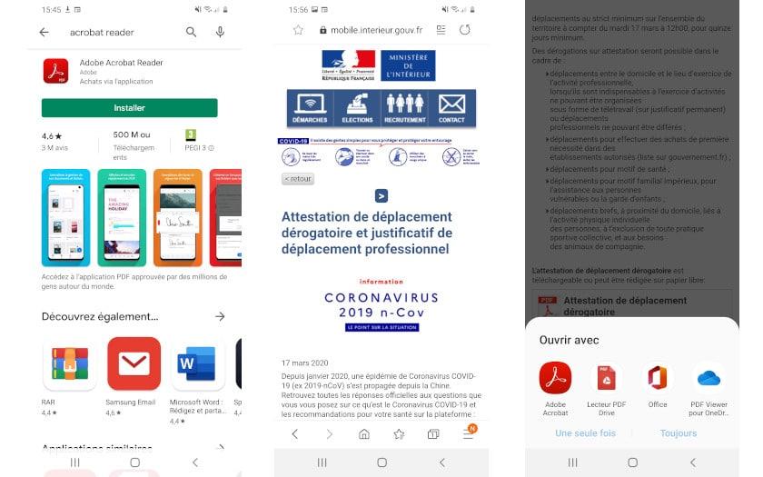 Adode Acrobat Reader pour ouvrir et signer l'attestation de sortie obligatoire sur Android