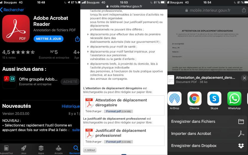 Adode Acrobat Reader pour ouvrir et signer l'attestation de sortie obligatoire sur iOS