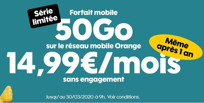 Forfait SOSH 50 Go à 14.99 € / mois même après 1 an