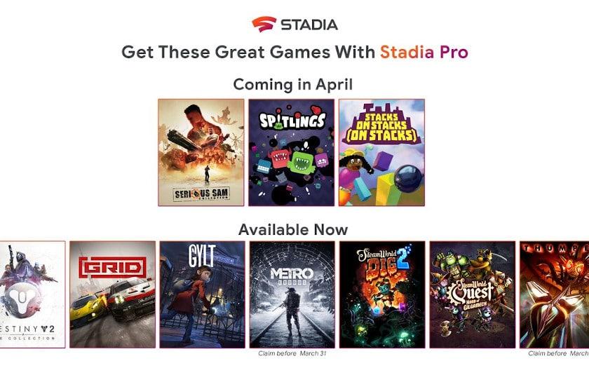 stadia jeux gratuits avril 2020