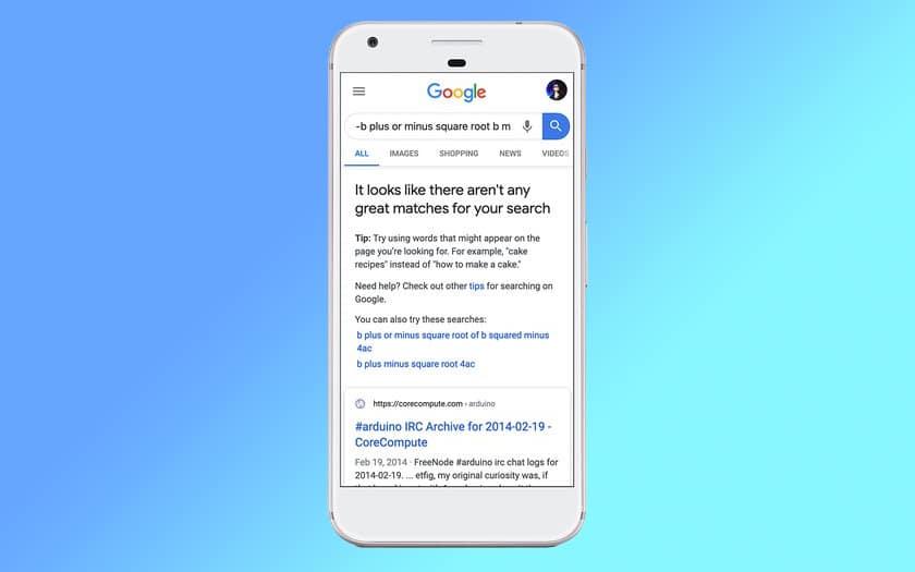 Google Search resultats non fiables