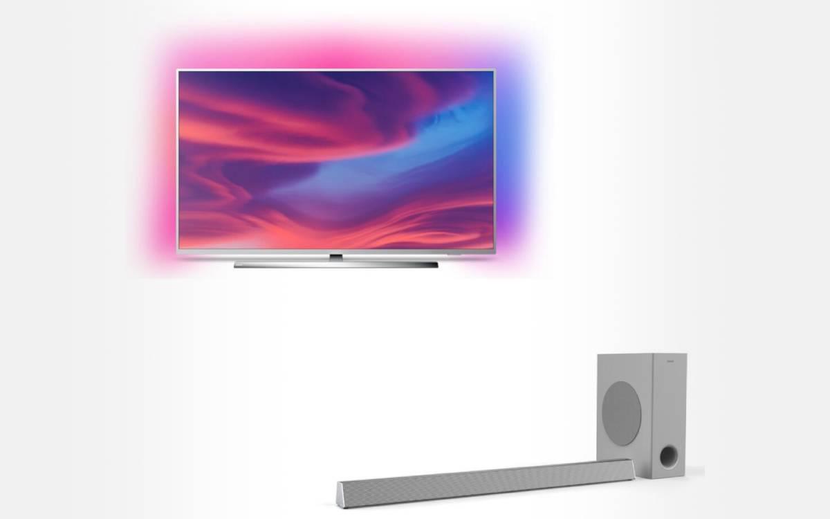 pack Philips TV 4K UHD The One 65 pouces avec barre de son HTL3325