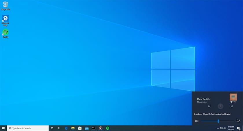 Windows 10 Build 19603 Controle Audio Spotify