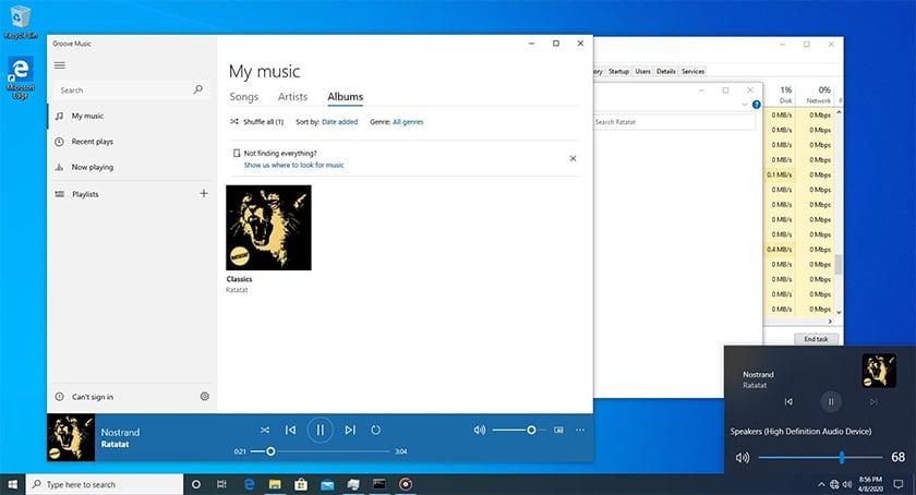 Windows 10 Build 19603 Controle Audio
