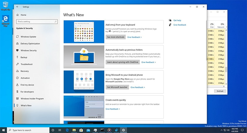Windows 10 Build 19603 Whats new