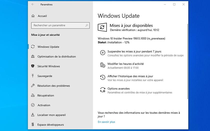 Windows 10 Update Build 19613
