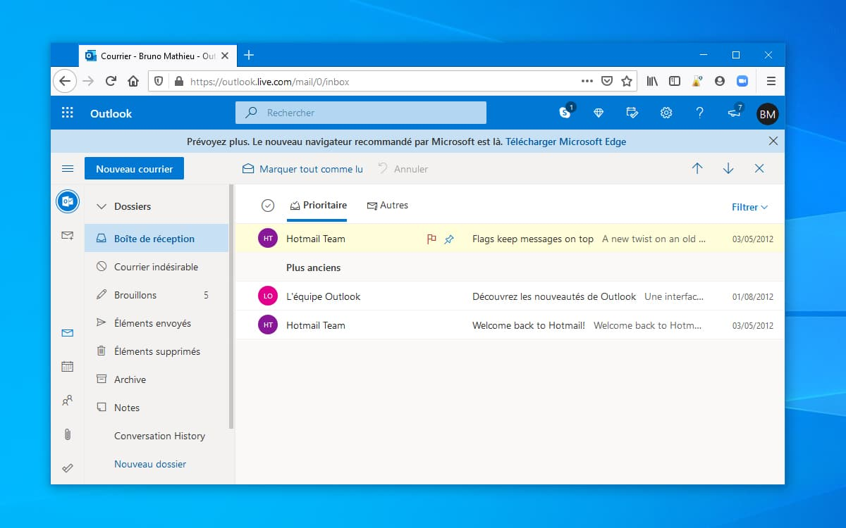 Windows 10 Microsoft Fait Promotion Sur Le Site Outlook
