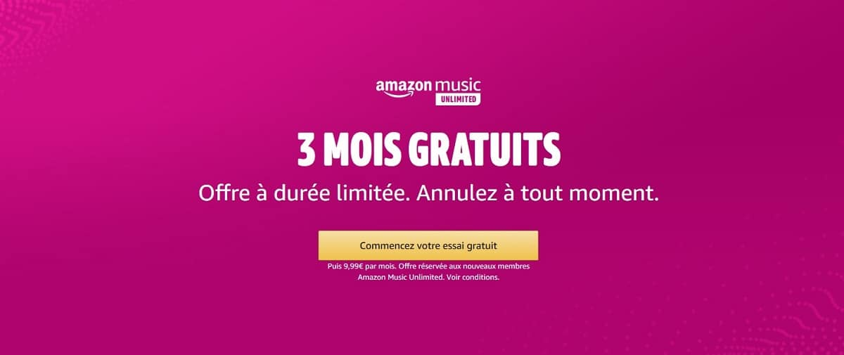 Amazon Music unlimited gratuit 3 mois
