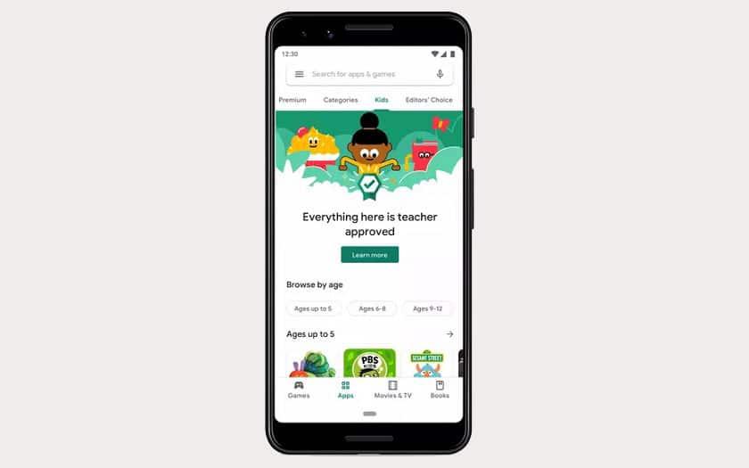 Google Play Store : applications pour enfants
