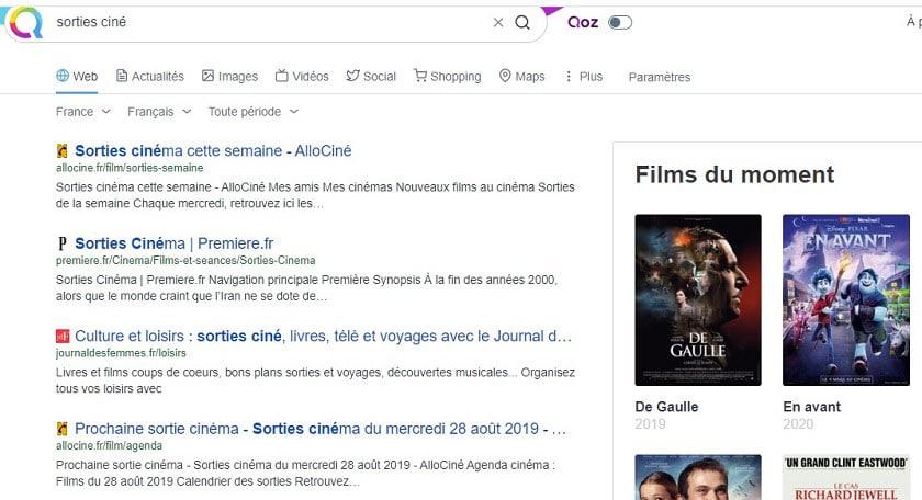 Qwant : résultats de la requête sorties ciné