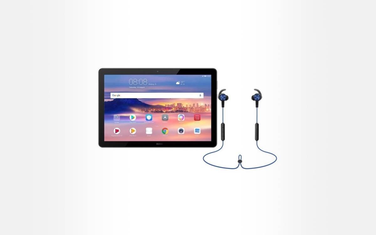 tablette MediaPad T5 avec des écouteurs