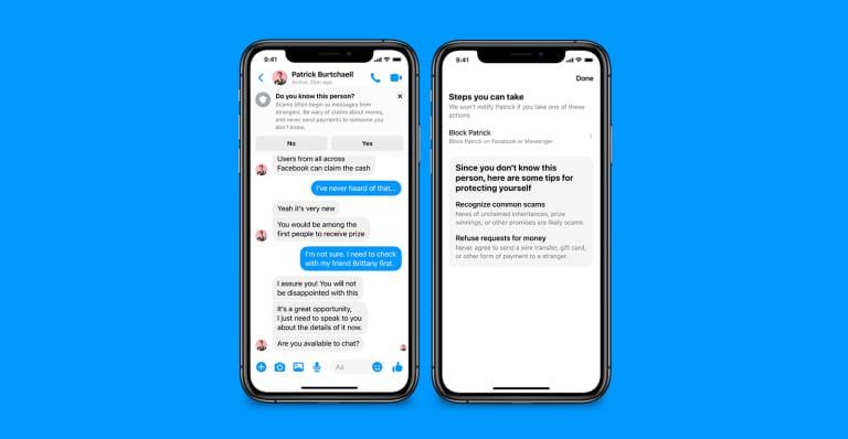 Alertes de sécurité sur Facebook Messenger