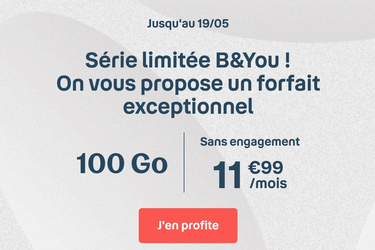 forfait mobile 100 Go b&you pas cher