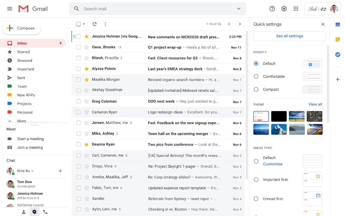 gmail nouveau menu paramétrage rapide
