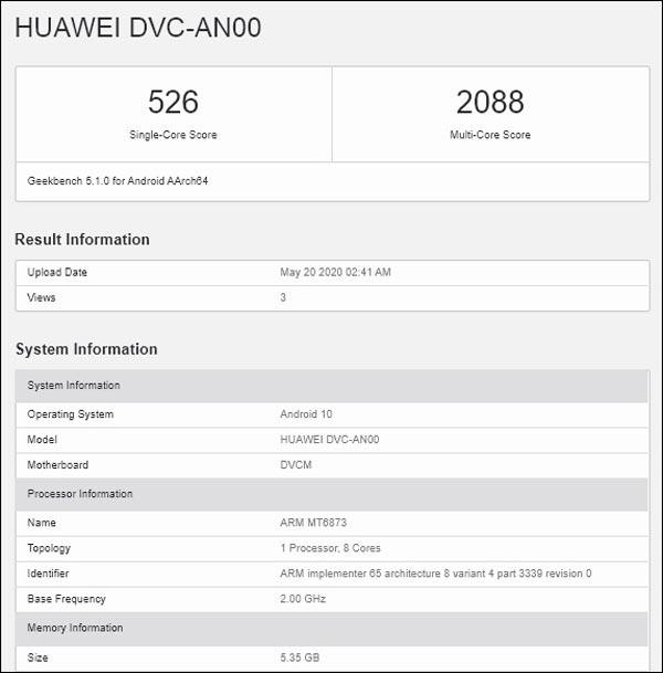 Huawei smartphone Dimensity 800