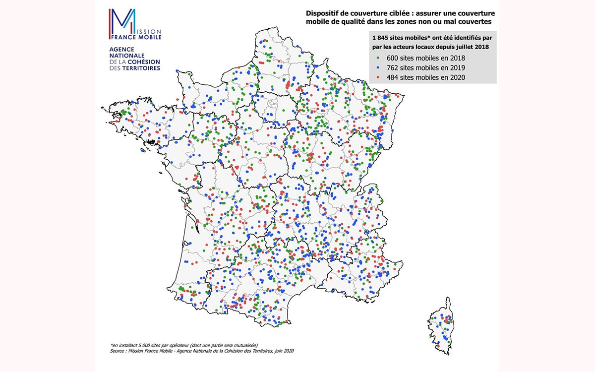 4g cartes zones blanches couvrir 2020