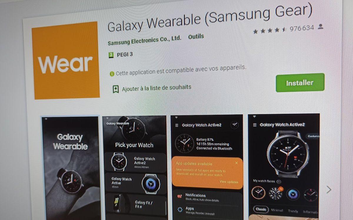 L'application Galaxy Wear
