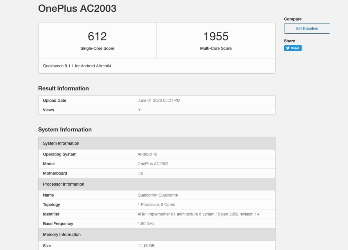 OnePlus Z benchmark