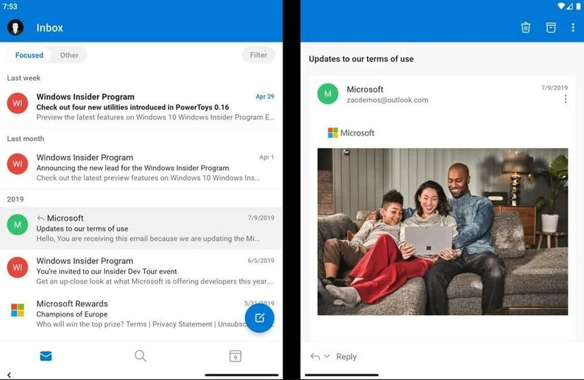 Outlook sur Surface Duo