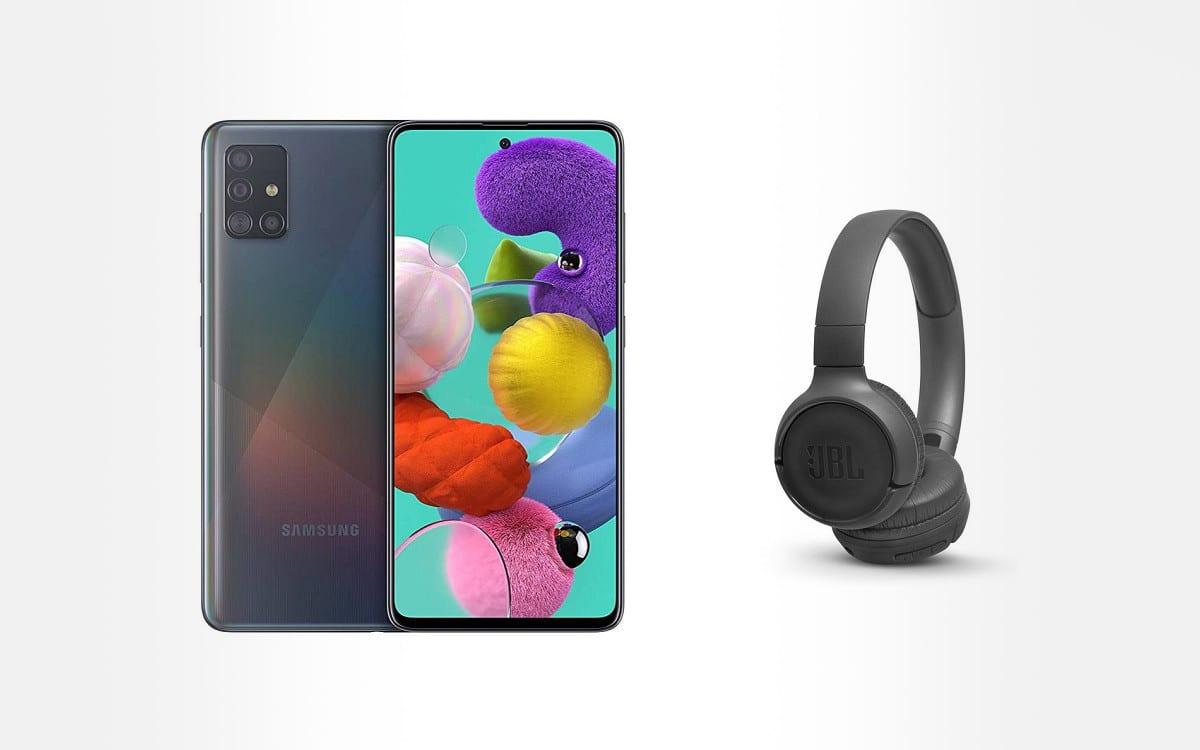 Samsung Galaxy A51 avec casque JBL
