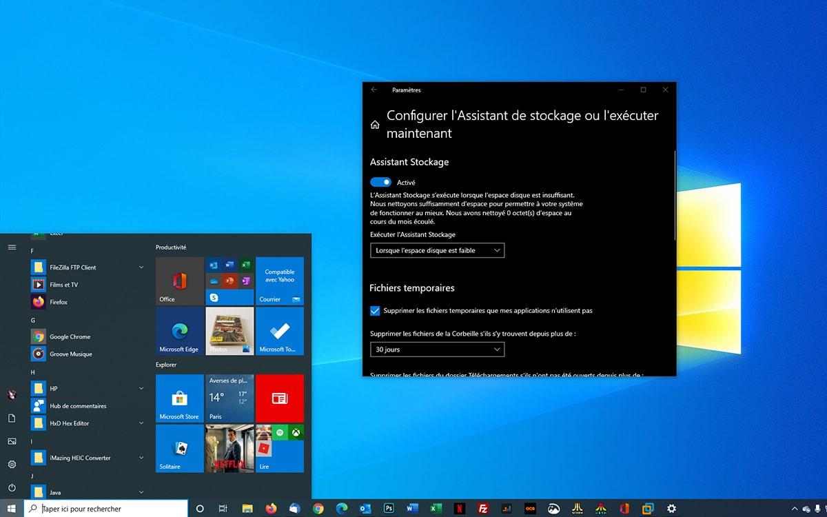 Windows 10 Assistant de stockage