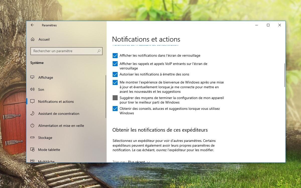 Windows 10 Desactiver messages plein ecran
