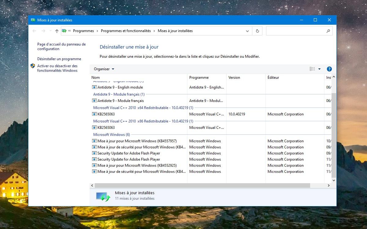 Windows 10 Desinstaller mise à jour