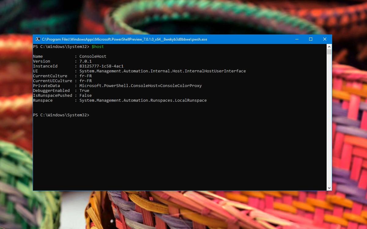 Windows 10 PowerShell Identifier numero version