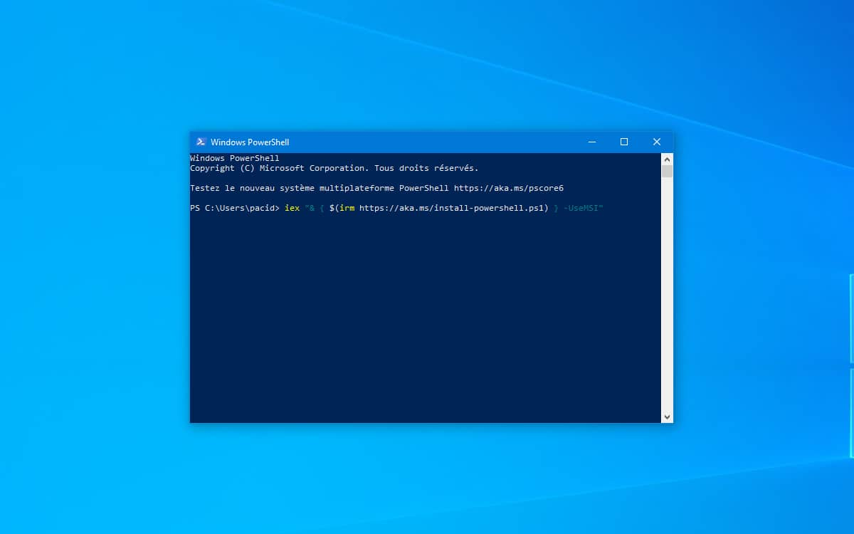 Windows 10 PowerShell comment installer mise a jour