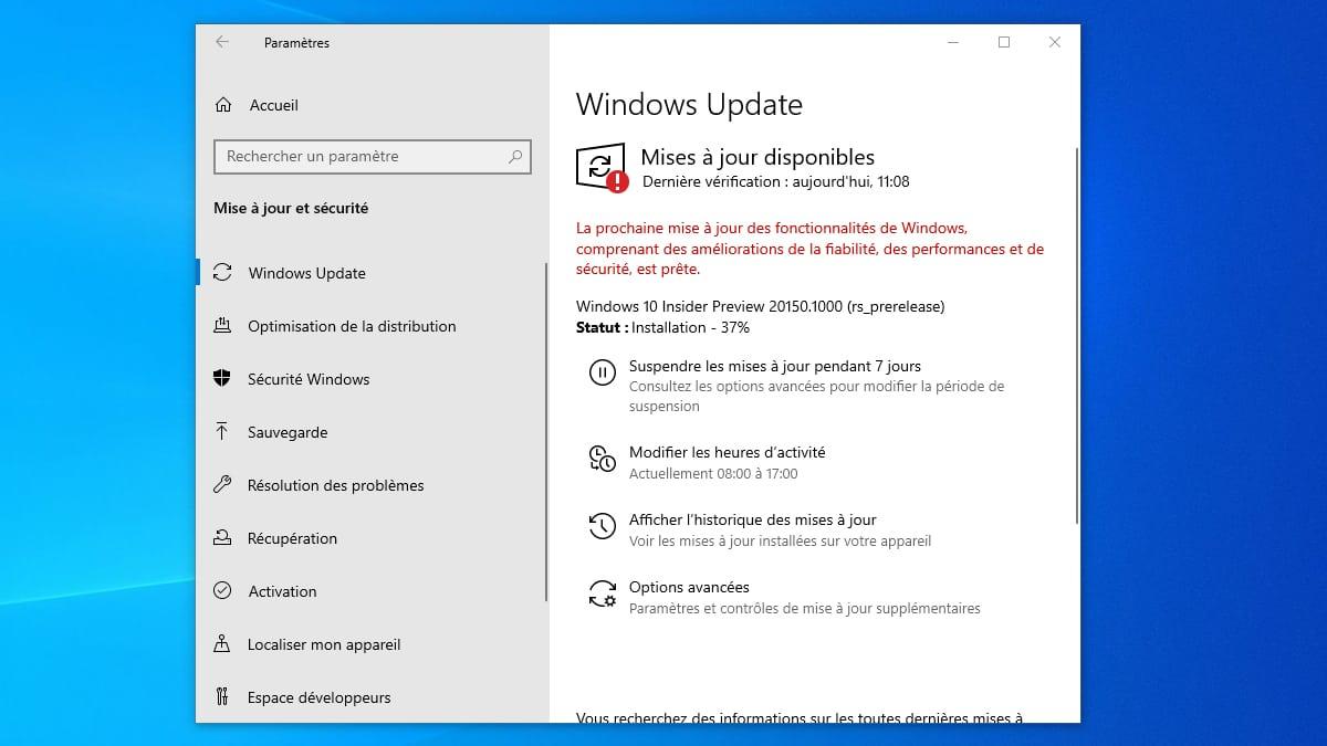 Windows10 Build 20150 mise a jour