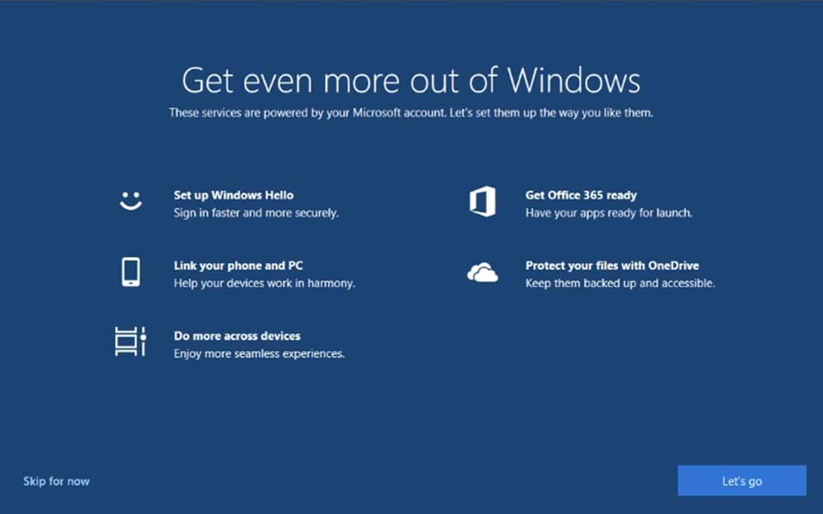 Windows10 fait la publicite des services microsoft en plein ecran