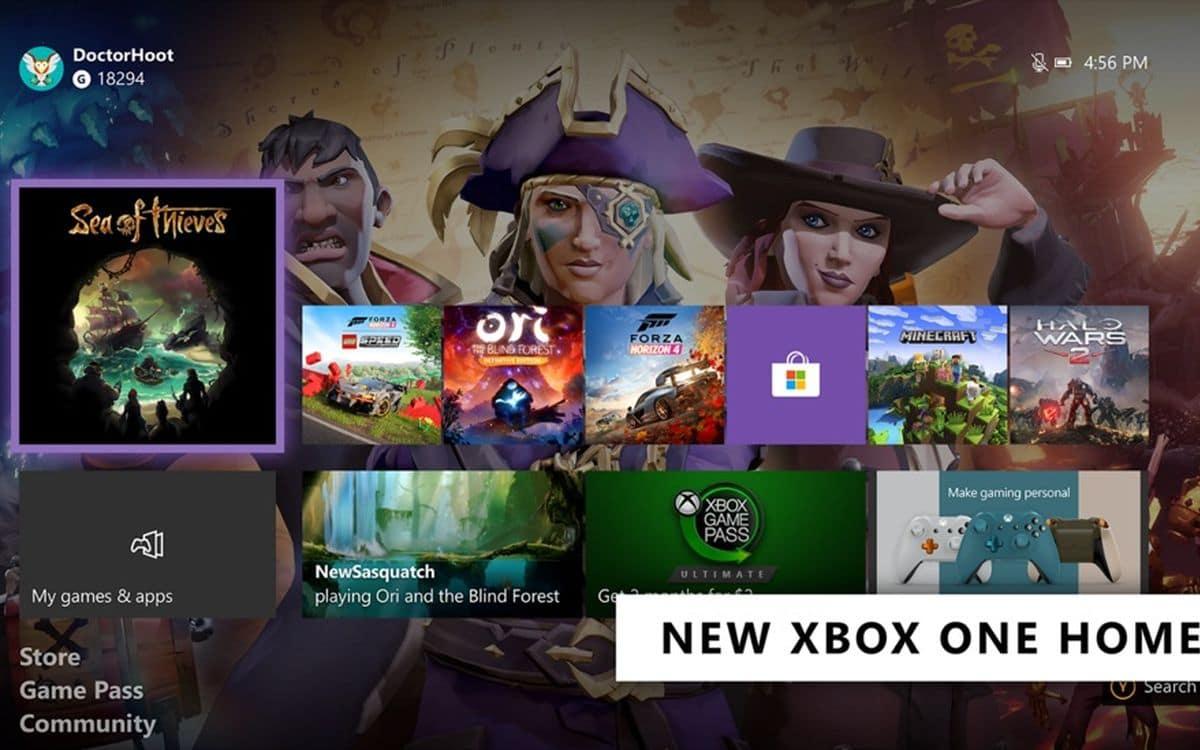 L'interface de la Xbox One.
