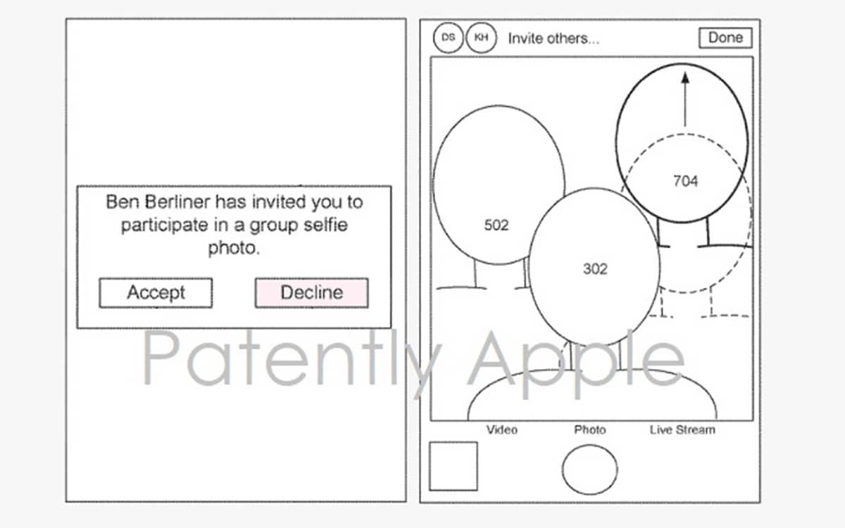 apple brevet selfies groupe distance