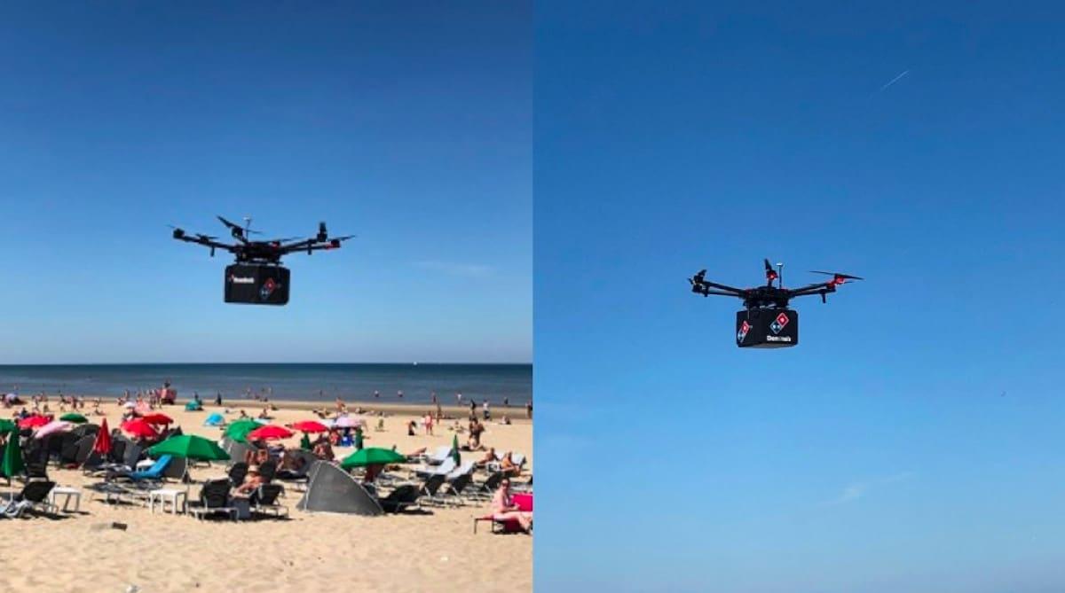 dominos pizza livraison drone plage